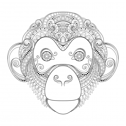 Monkey Advanced Coloring Page | Animal, Free and Adult coloring