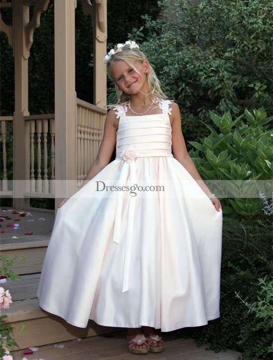 Lovely A-line Square Ankle-length Ruched Flower Girl Dress