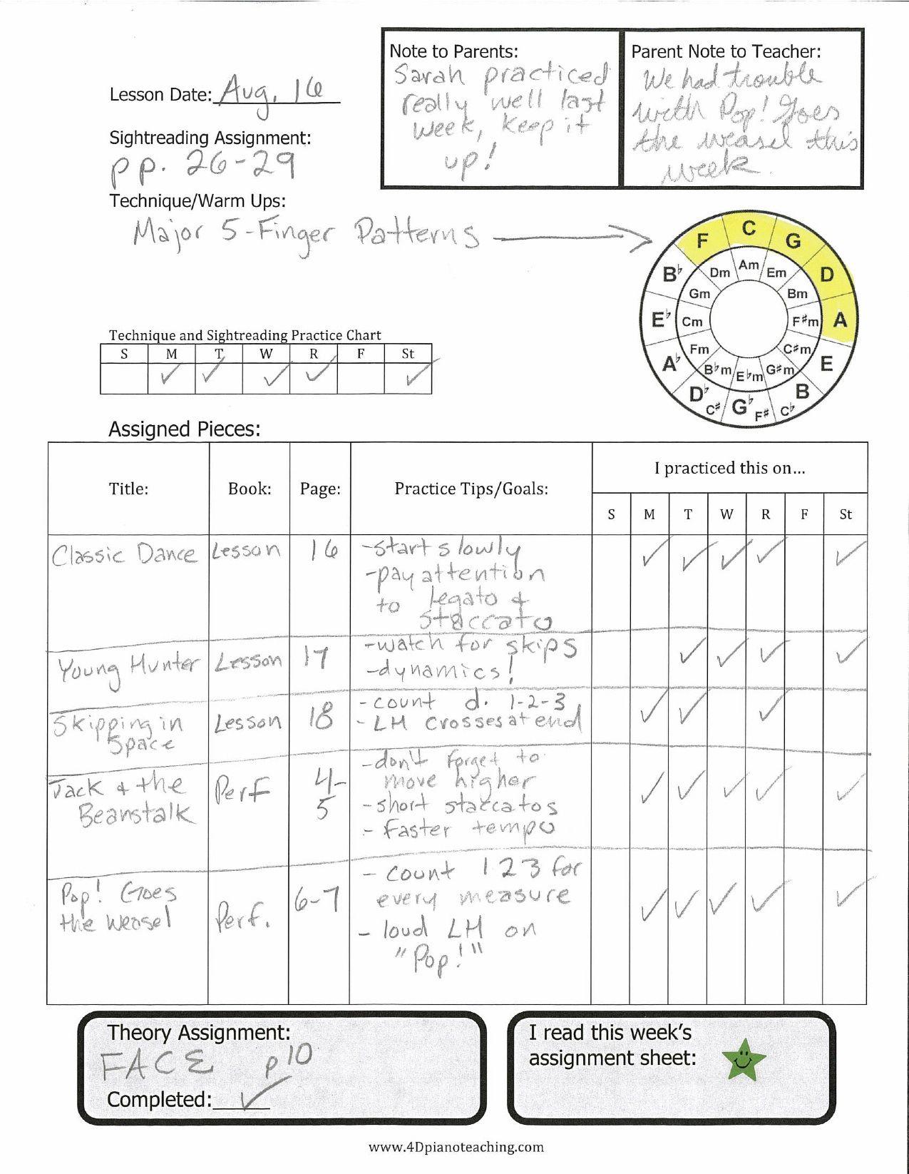 New Assignment Sheet