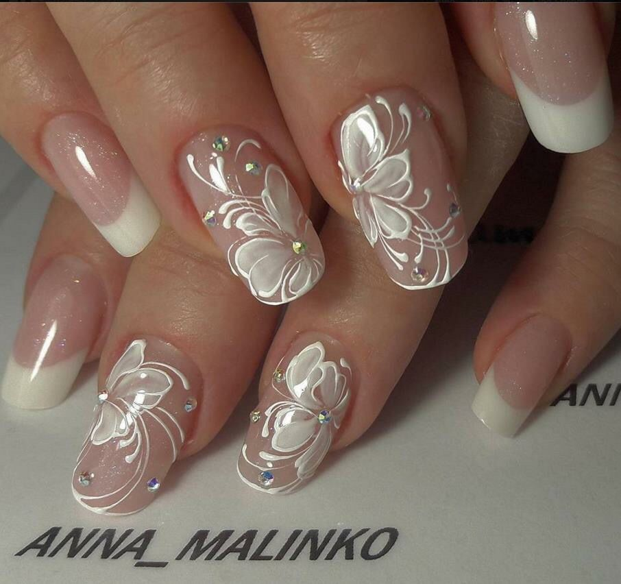 French Manicure With Diamonds