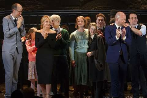 JK on stage with the cast of Harry Potter and The Cursed Child.