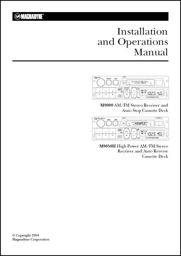 Magnadyne M9000 M9050H Installation and Operation Manual - operation manual