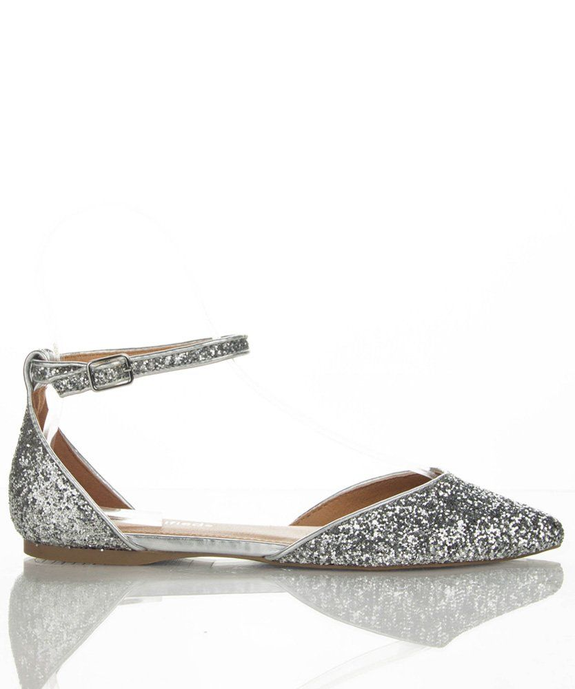 1f6cc09b23b674 City Classified Unison Women s D orsay Metallic Glitter Pointy Toe with Ankle  Strap Flats SILVER GLITTER (5.5)   Amazon.com