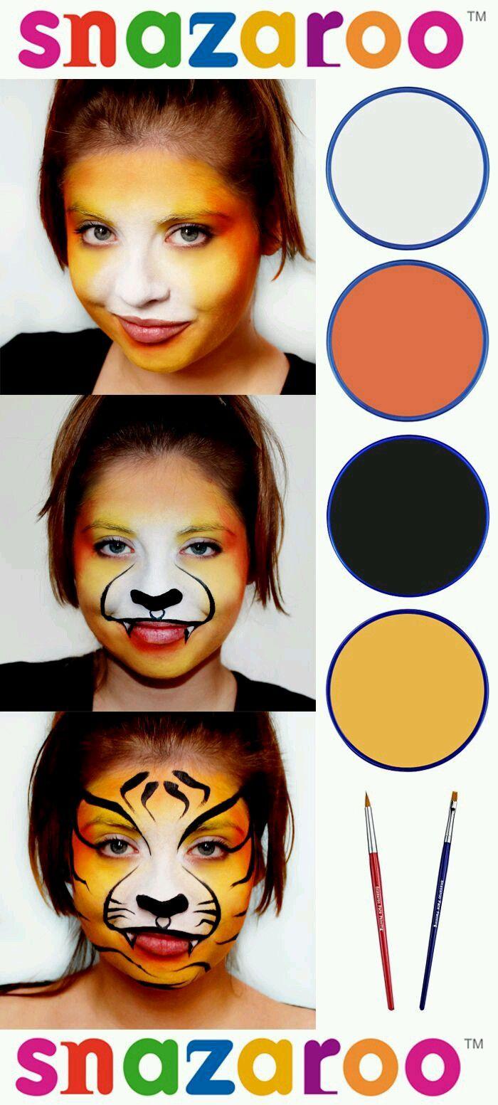 Simple Tiger Face Paint Lion Face Paint Animal Face Paintings Face Painting Easy