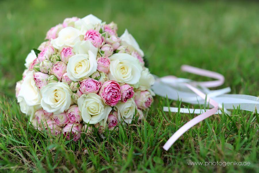 Brautstrauss mit Pfingsrosen in rosa pink creme