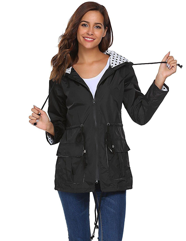 92b1dcca9 Waterproof Lightweight Rain Jacket Active Outdoor Hooded Raincoat For Women  - Black - C3185N0TNUS,Women's Clothing, Coats, Jackets & Vests, Trench, Rain  ...