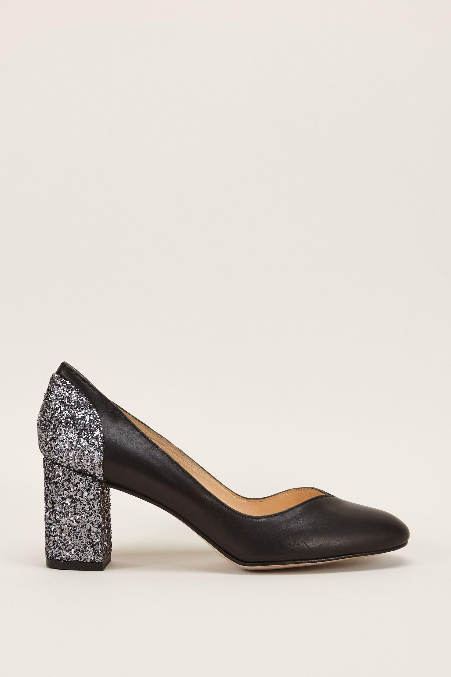 Escarpins en cuir noir et talons à paillettes Cecilette zoom
