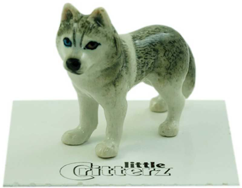 Husky Hand Painted Porcelain Miniature Figurine Gray #miniaturehusky