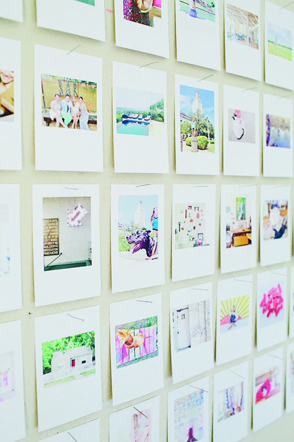 good Instagram Wall Art Part - 12: Instagram wall art made with some of her favorite Instagram photos printed  and pinned in a grid with sewing pins.