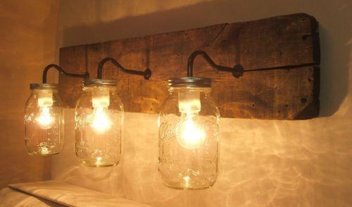 Rustic Mason Jar Wall Light Fixture Sconce Vanity Reclaimed Wormy