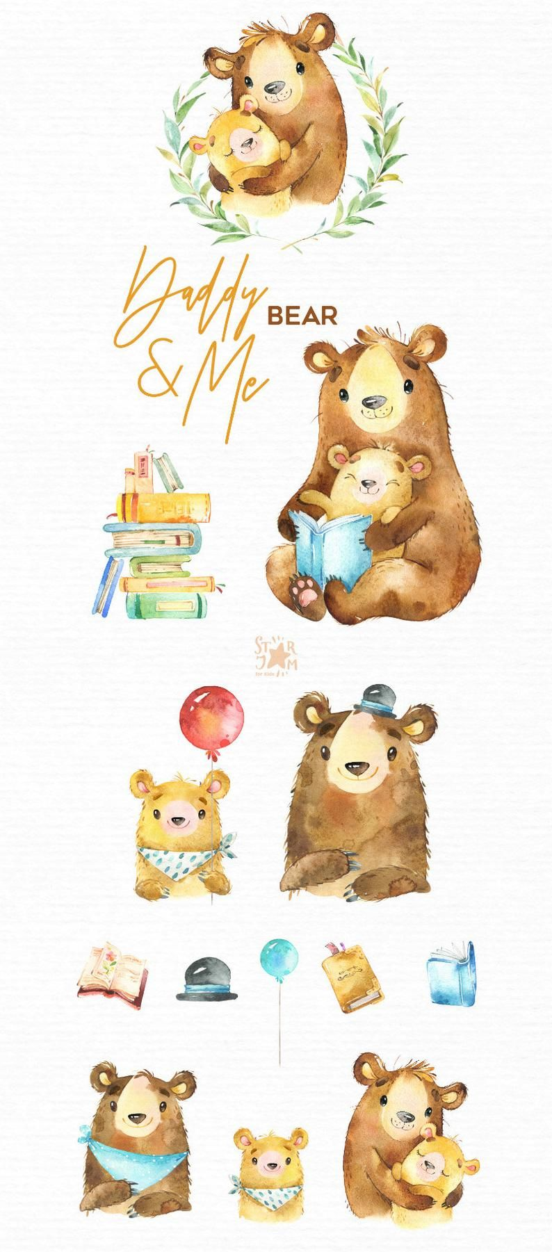 Papa Me Orso Animali Acquerello Animali Clipart Padre Etsy In 2020 Bear Watercolor Watercolor Animals Animal Clipart