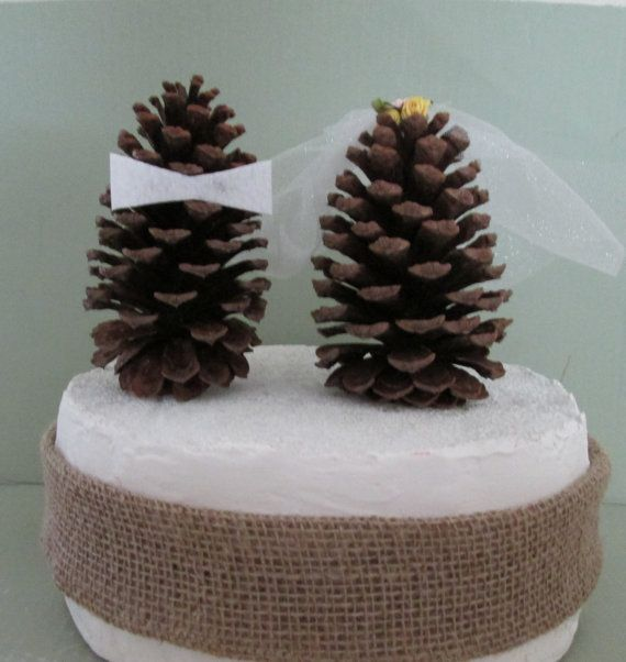 Pine Cone Wedding Cake Topper Woodsy Wedding by Thecreativebride
