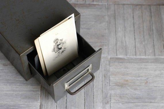 Vintage Library Metal Card File Drawer