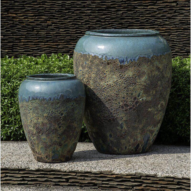 Sureda 2 Piece Glazed Terracotta Pot Planter Set In 2020 Terracotta Pots Planters Terra Cotta Pottery