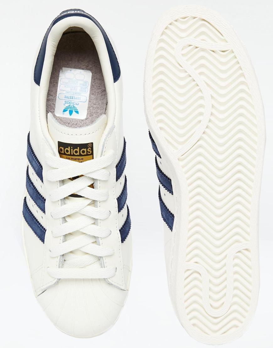 adidas superstar 80s vintage white y navy