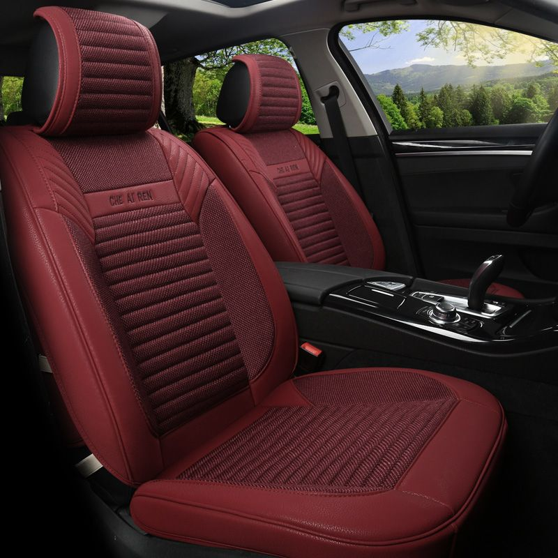 Linen Flax Leather Seat Covers For Ford Kuga ST Fusion Mustang Cmax Taurus Escape Edge Explorer 5 Cushion Protect 151i