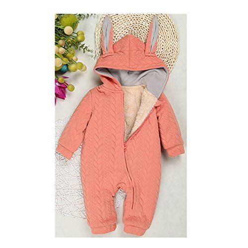 FTSUCQ Unisex-baby Winter Cotton Rabbit Fleece Romper Jumpsuits, Pink 90 *** Learn more @