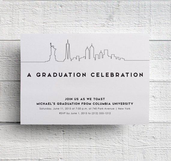 New York Graduation Invitation, New York Event, New York Party