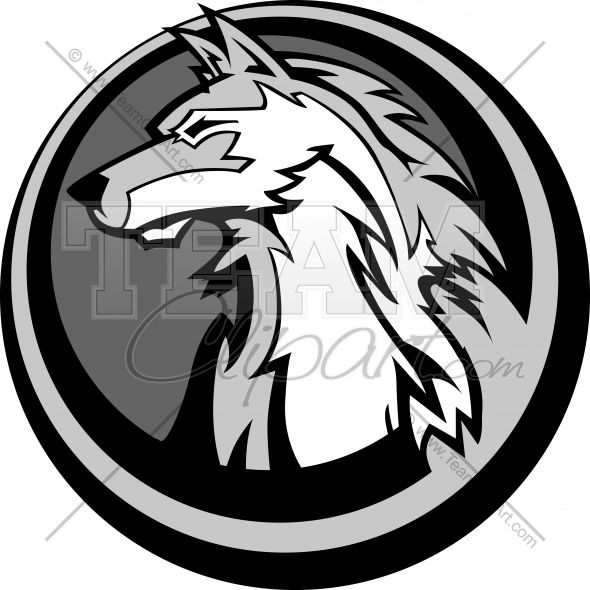 Wolf Surrounded by Circle Logo | Wolf Head in Circle ...