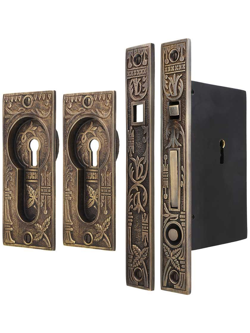 Broken Leaf Bit Key Single Pocket Door Mortise Lock Set In Antique