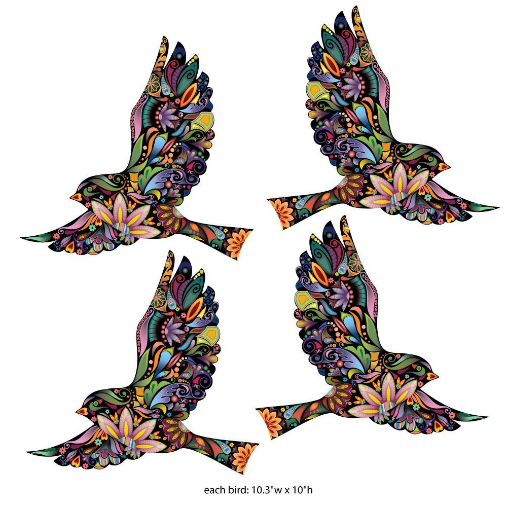 Flying Floral Bird Wall Stickers For Walls And Windows Set Of - How do you put up wall art stickers