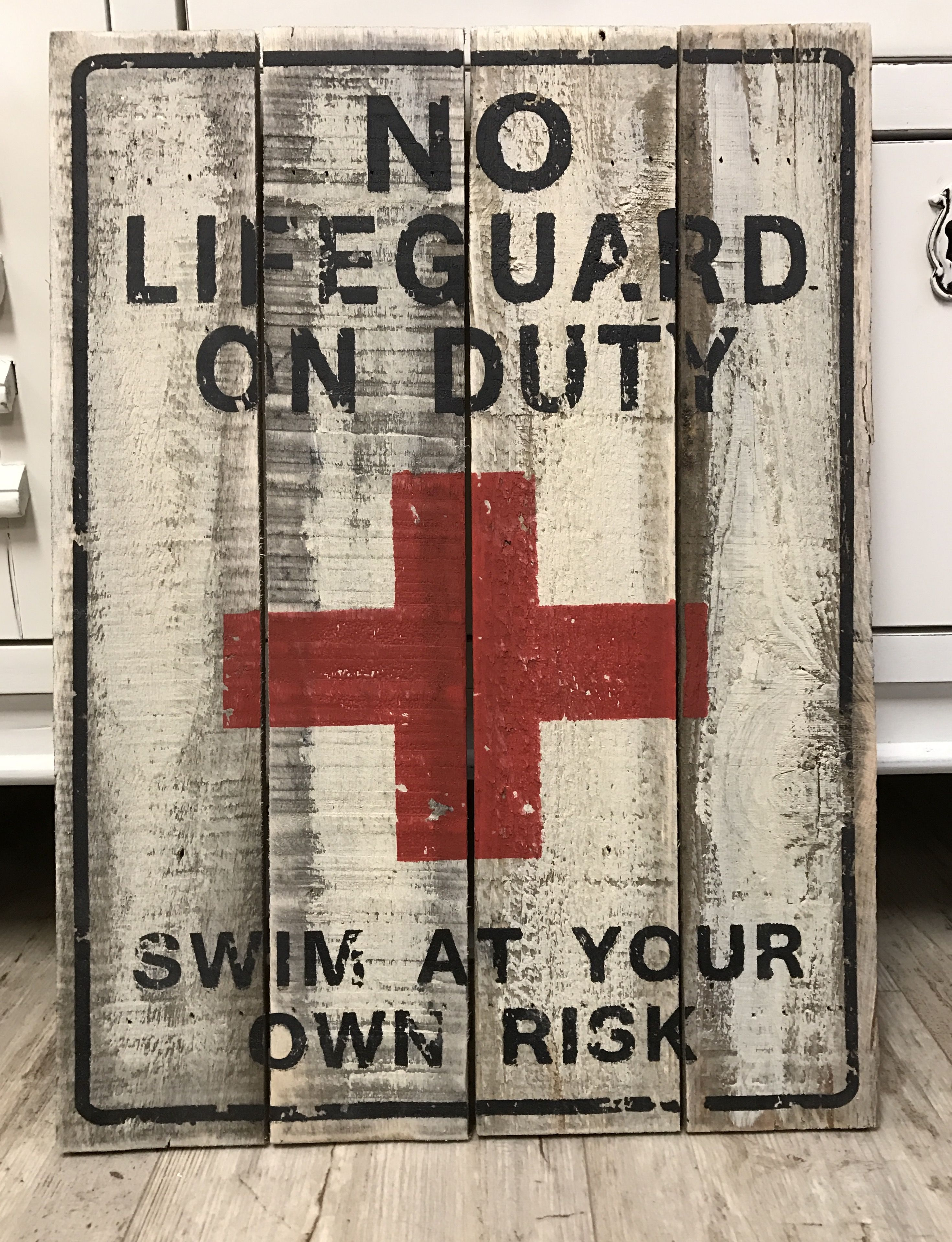 7e1440ef01e5 No Lifeguard On Duty Swim At Your Own Risk sign Size  16