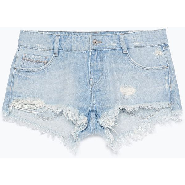 Zara Ripped Denim Shorts (85 NOK) ❤ liked on Polyvore featuring shorts, bottoms, short, pants, light blue, torn jean shorts, zara shorts, distressed denim shorts, light blue shorts and short jean shorts