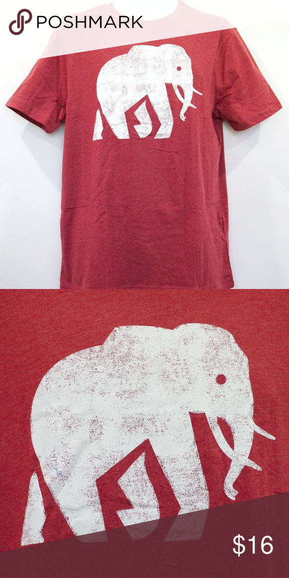 Banana Republic Mens Red Elephant Logo Graphic Tee Short