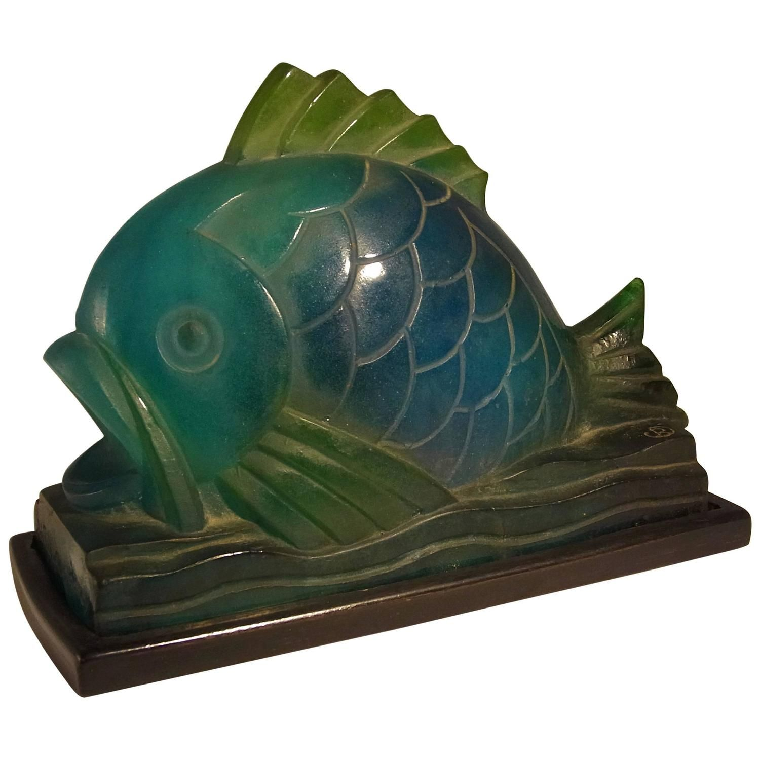 Amalric Walter Pate De Verre Fish Art Deco Night Light, circa 1925
