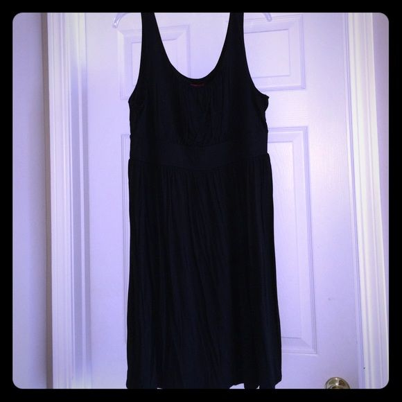 Black dress for summer/spring Merona black cotton dress. Sleeveless dress has band below bust line. Cute with a scarf or denim jacket! (Scarf is also for sale on a separate listing). Minor pilling under arms. Merona Dresses
