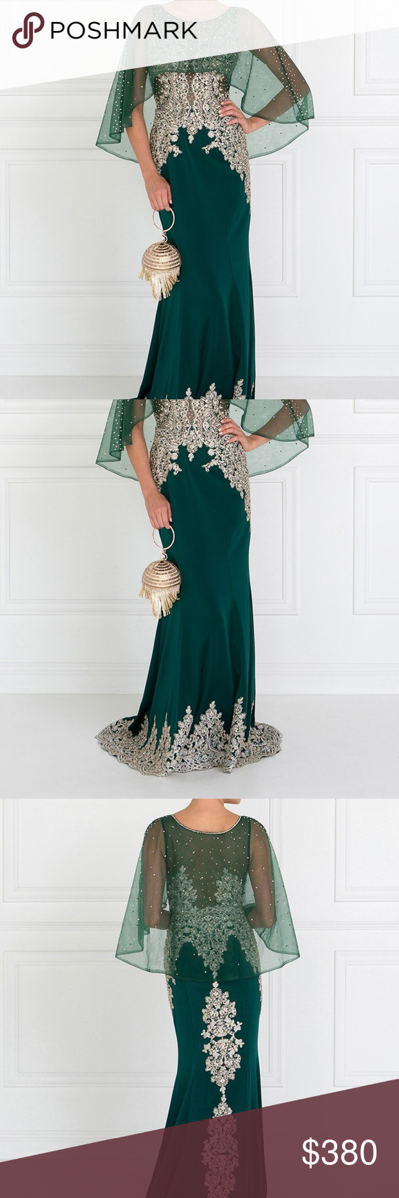 18742523b8 Spotted while shopping on Poshmark  MOTHER OF BRIDE WEDDING GOWN DRESS  GLS1595 GREEN!