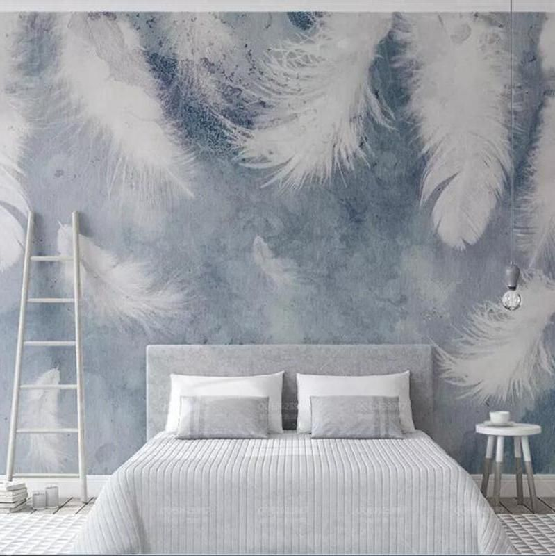 Custom Wallpaper Mural Nordic Style Wallcovering Ink Feather (㎡)