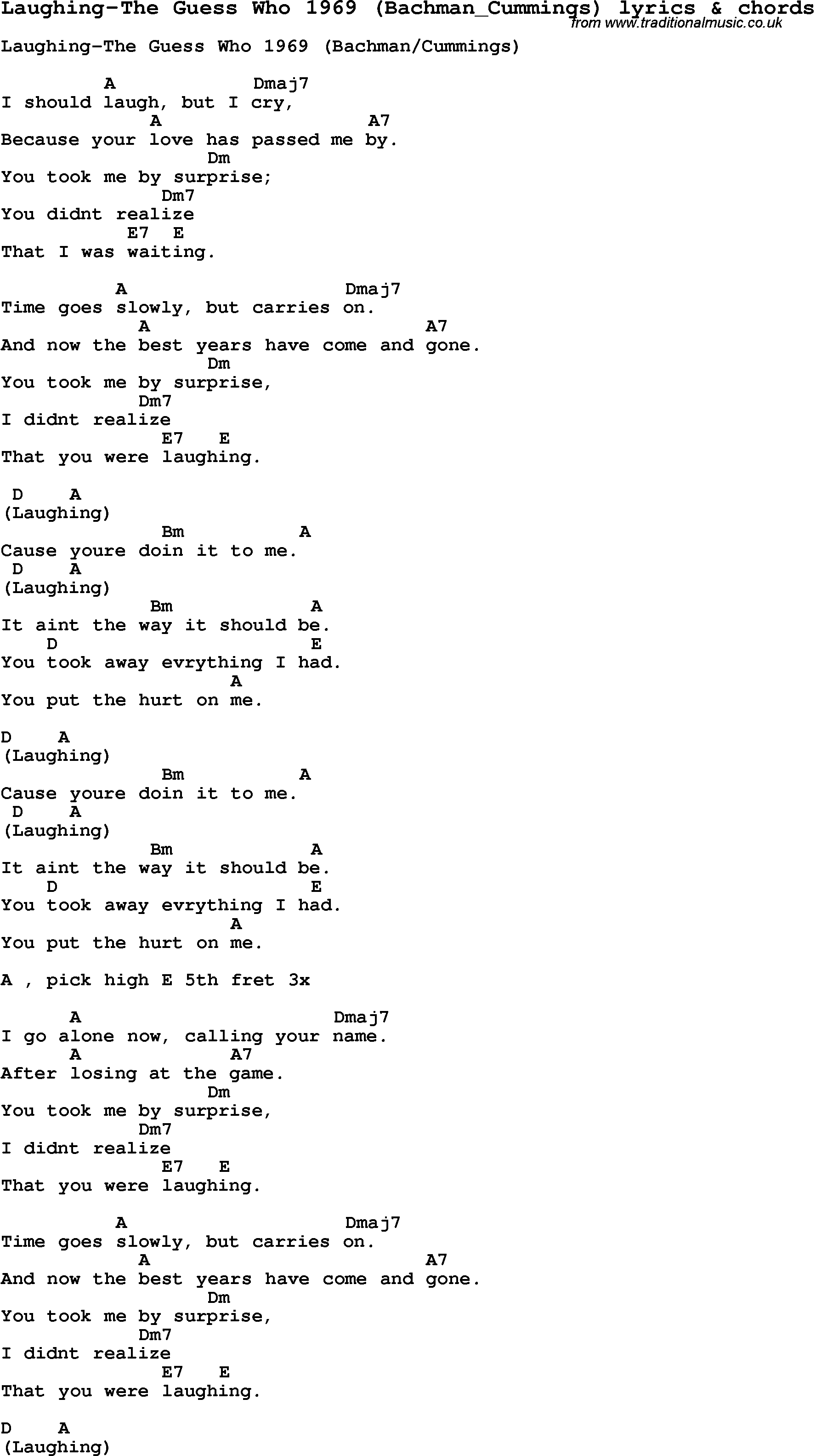 Love Song Lyrics For Laughing The Guess Who 1969 Bachmancummings