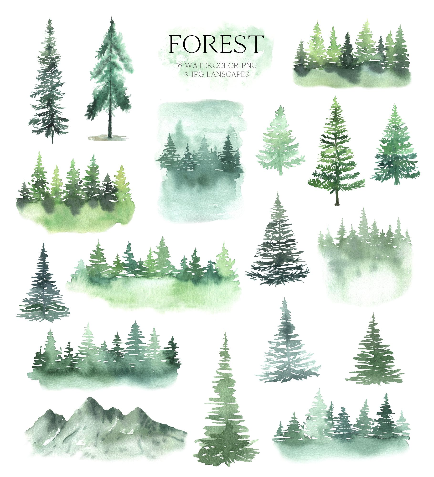 watercolor forest tree clipart woodland pine trees landscapes mountain digital clip art wedding invitation scrapbooking set png 327 in 2020 tree clipart landscape clipart watercolor trees pinterest