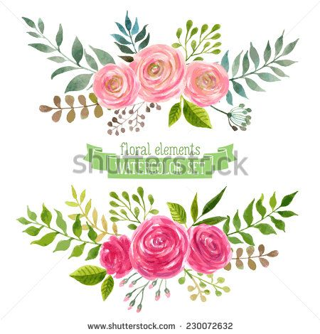 Vector flowers set colorful floral collection with leaves and vector flowers set colorful floral collection with leaves and flowers drawing watercolor spring or summer design for invitation wedding or gree stopboris Gallery