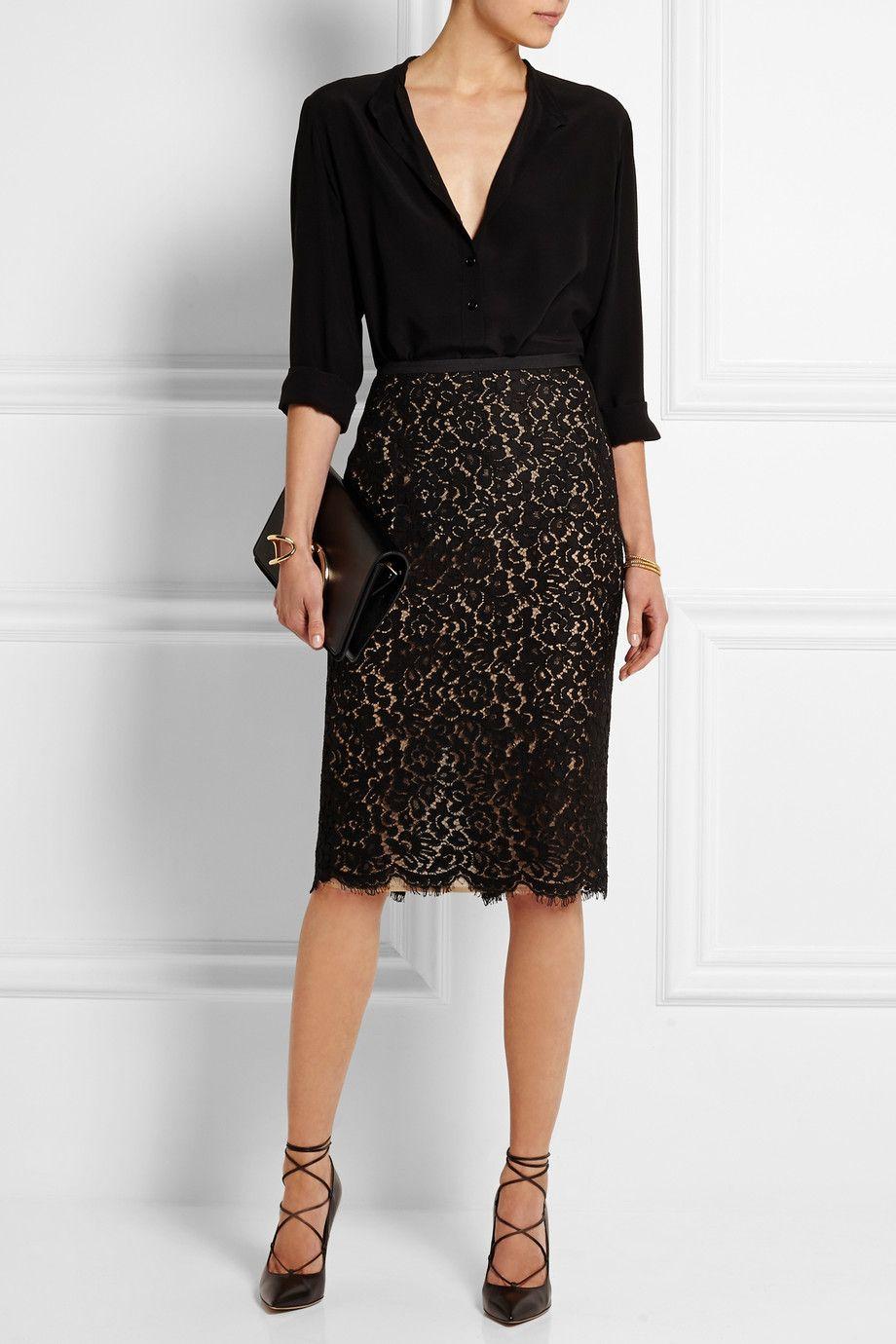cce81b60e3 Michael Kors | Guipure lace pencil skirt | NET-A-PORTER.COM-lace skirt,  black heels More