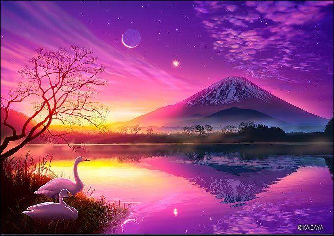 Purple Mountain Dream Landscape Visionary Art Fantasy Landscape