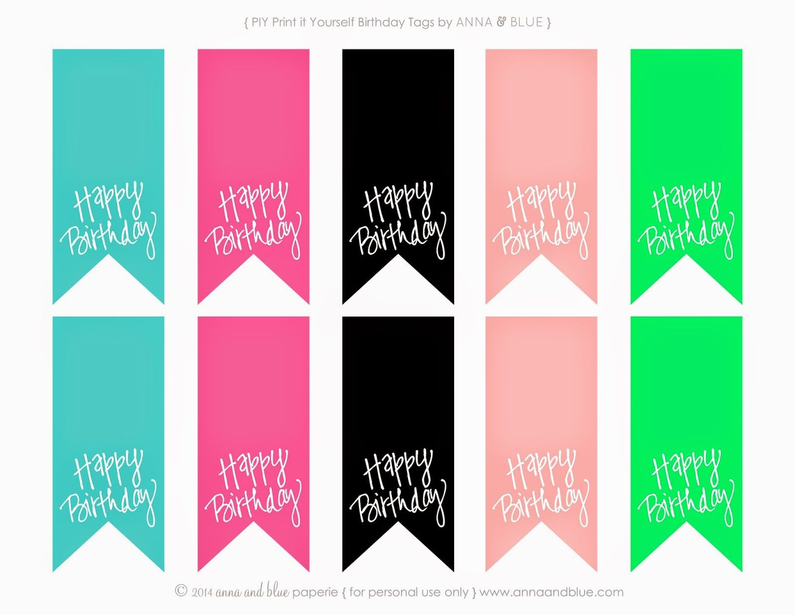 Birthday Tags: Anna And Blue Paperie: Free Printable Happy Birthday Gift