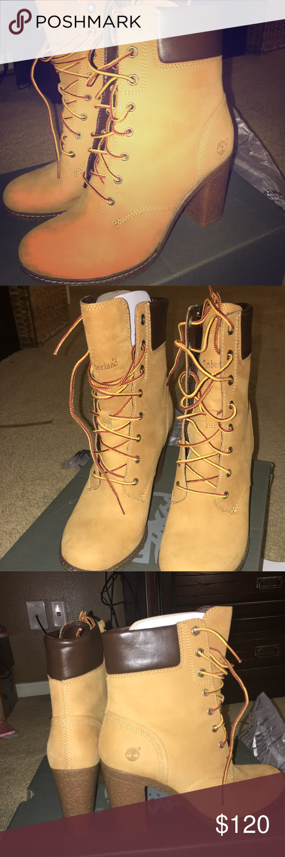 Timberland 3 4 heel boots Worn once. No damages. In great condition  w original box Timberland Shoes Heeled Boots 49a2b99b0c0f