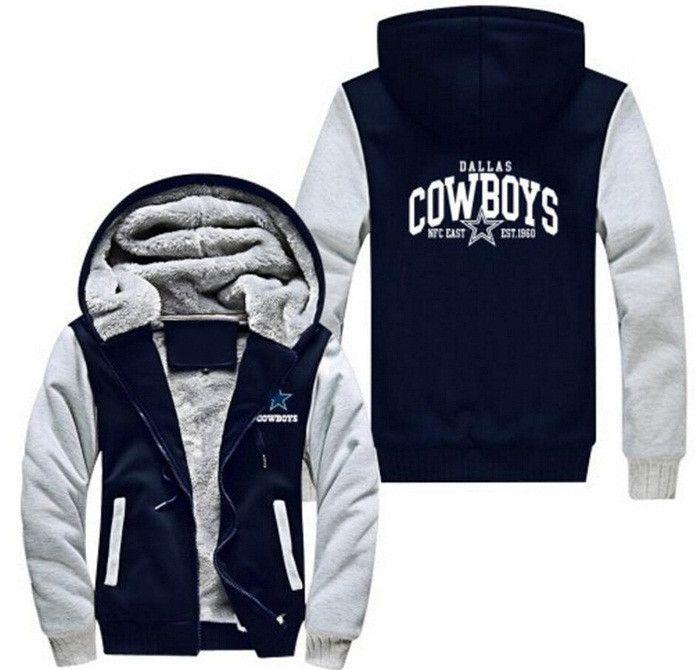 New Foot ball Team Zipper Jacket Sweatshirts Printing Pattern Thicken  Fleece Hoodie Coat Men Women USA size 7e5db4f02