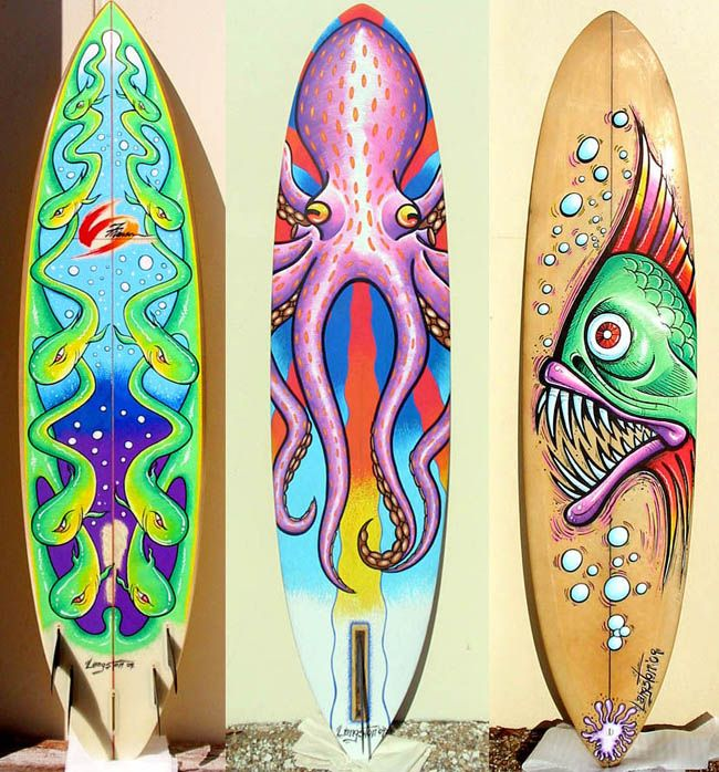 Custom surfboard painting have students design a for Awesome surfboard designs