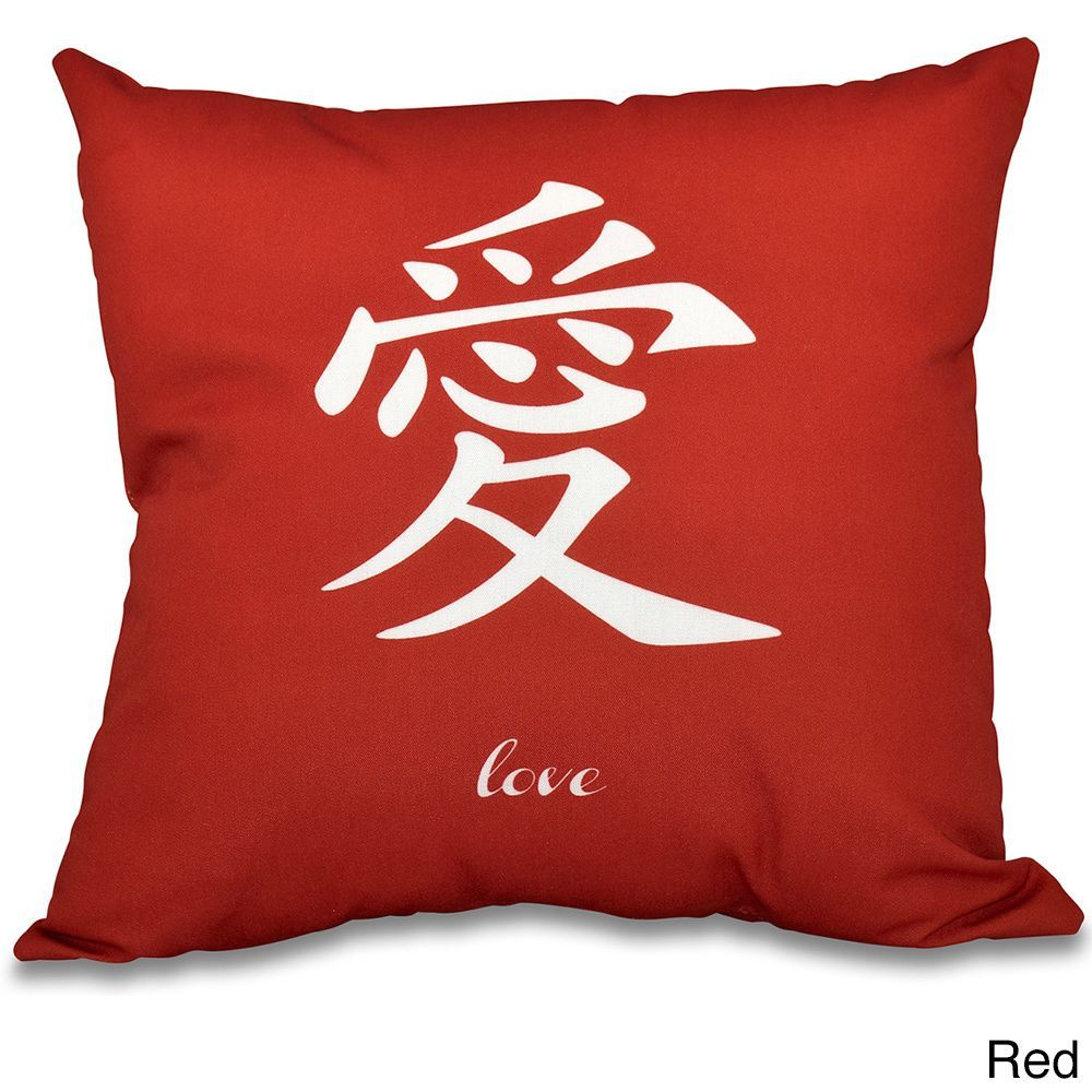 E by design love word print inch throw pillow blue polyester