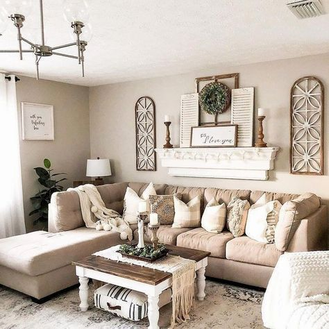 ✔45 beautiful farmhouse living room design and decor ideas 1 -   9 room decor Living entryway ideas
