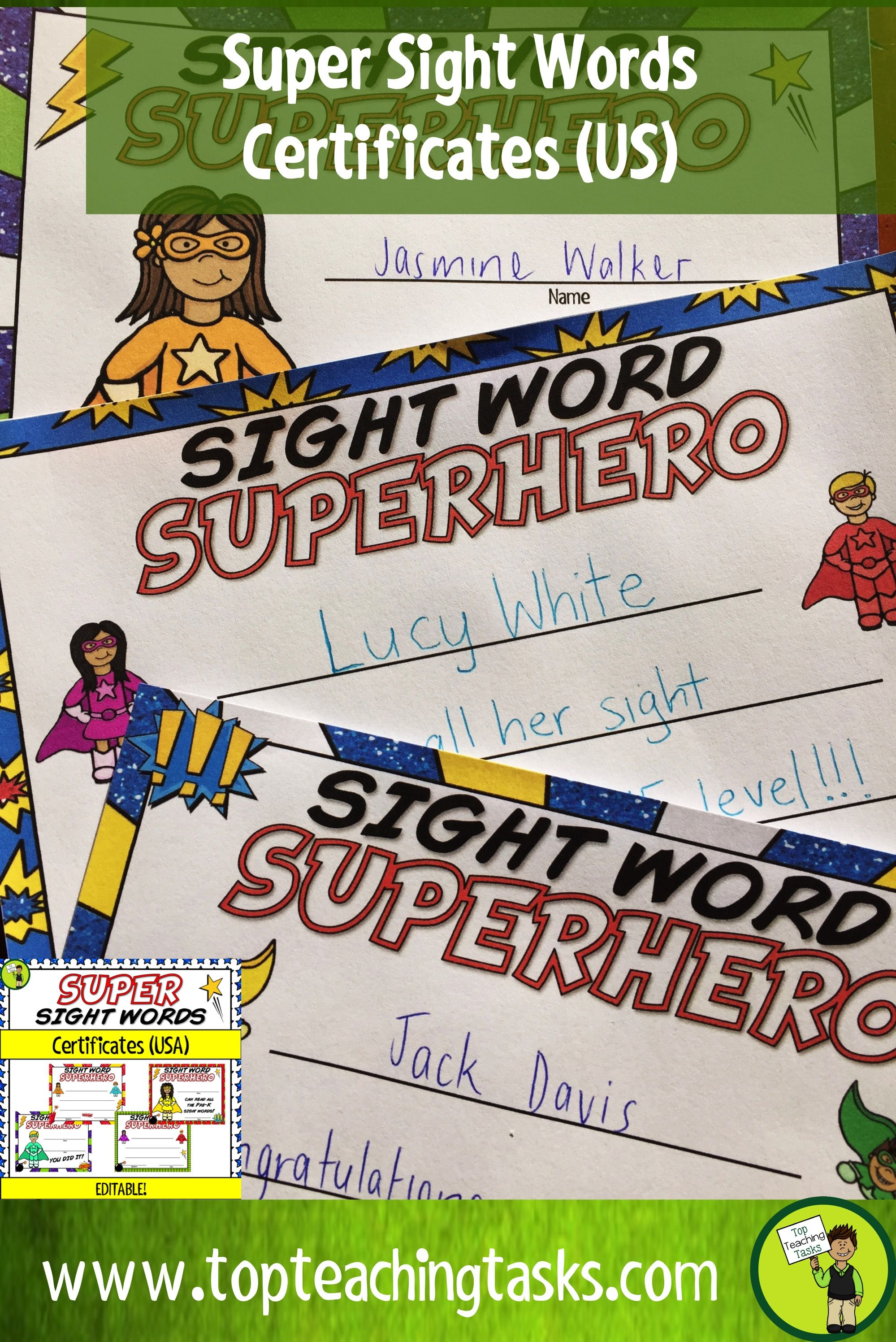 Pre k and kindergarden sight words certificates editable usa celebrate your students sight word success with our range of editable certificates this pack 1betcityfo Image collections