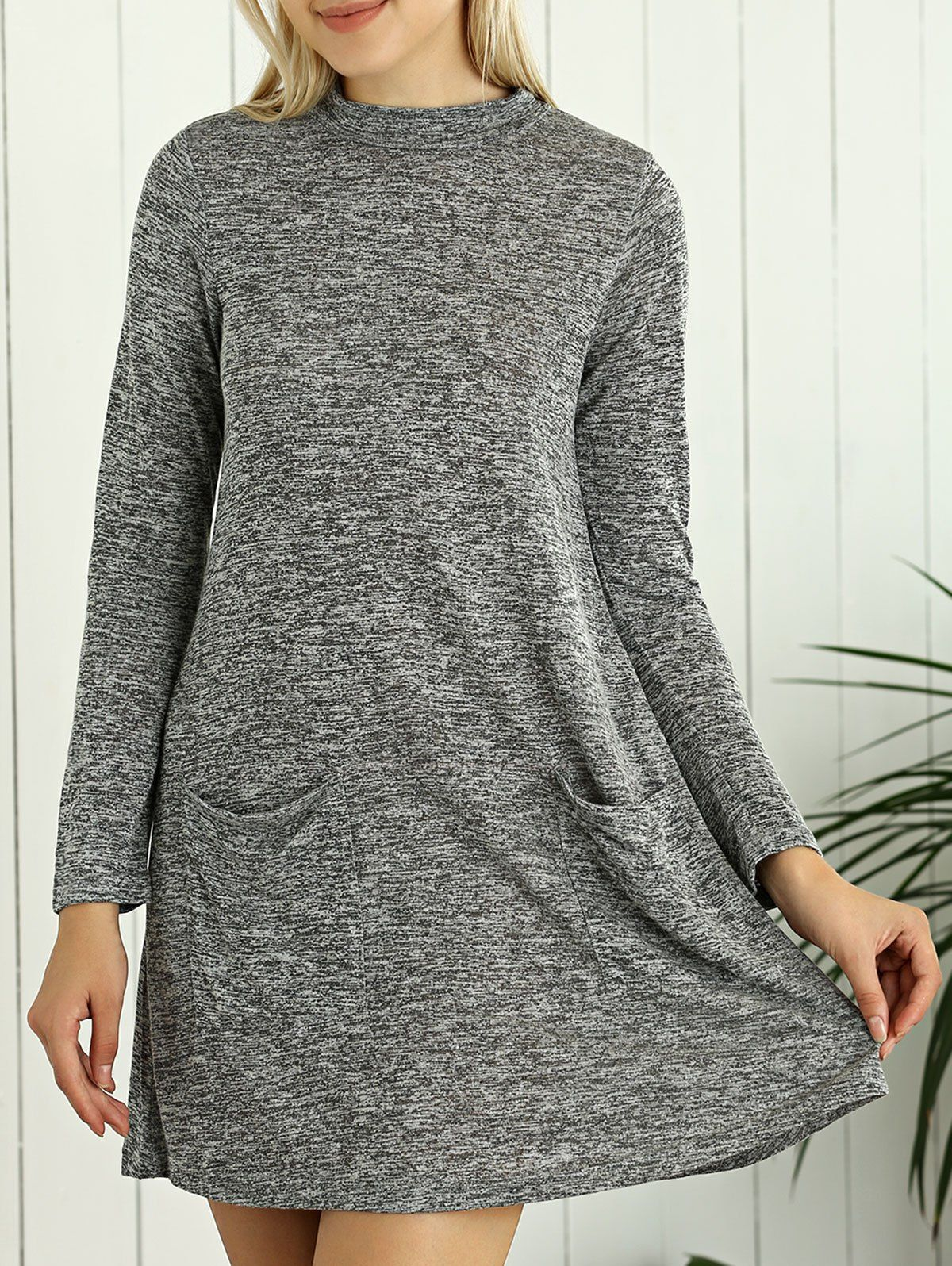 Heathered long sleeve tunic sweater dress with pocket