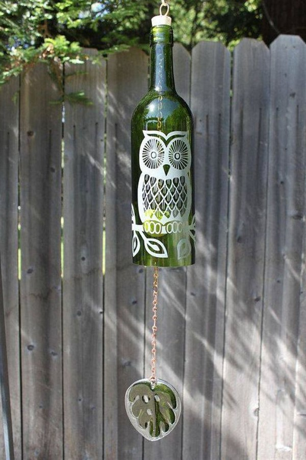 Decorative Wind Chime From Wine Bottle In 2020 Wine Bottle Wind Chimes Wind Chimes Painted Wine Bottles