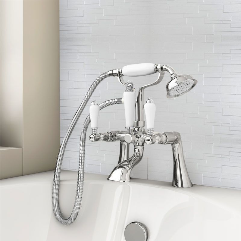 Chrome Traditional Bath Mixer Filler Shower Bridge Ceramic Levers ...