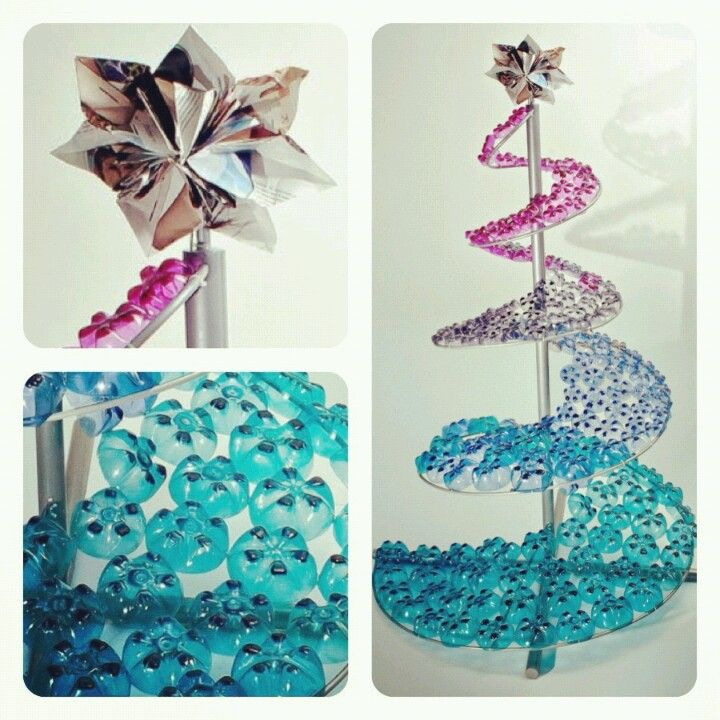 Rbol de navidad elaborado con fondos de botellas - Decoracion con reciclaje para el hogar ...