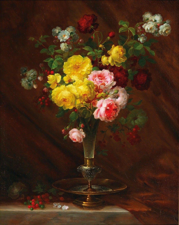прославилась натюрморты с розами масло фото нем гораздо