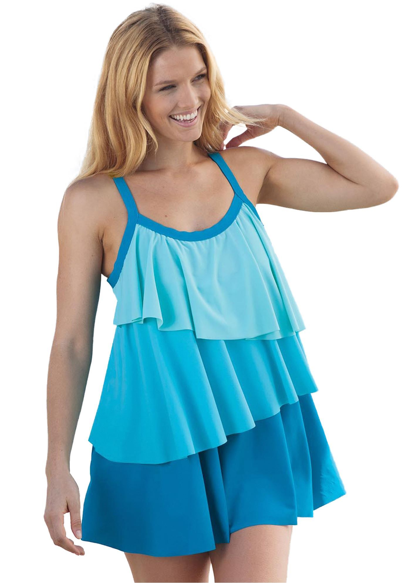 Plus Size Swimdress with asymmetric tiers, | Cute Bathing Suits ...